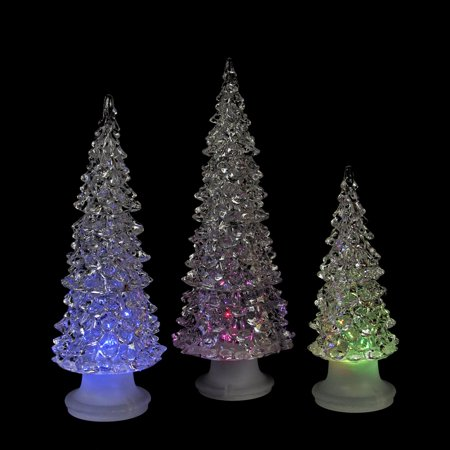 Set Of 3 Icy Crystal Multicolored Led Christmas Trees