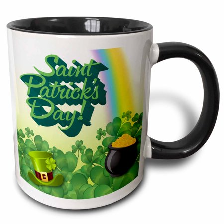 Black Pot Of Gold (3dRose Saint Patricks Day Greeting with a Pot of Gold and Hat - Two Tone Black Mug,)