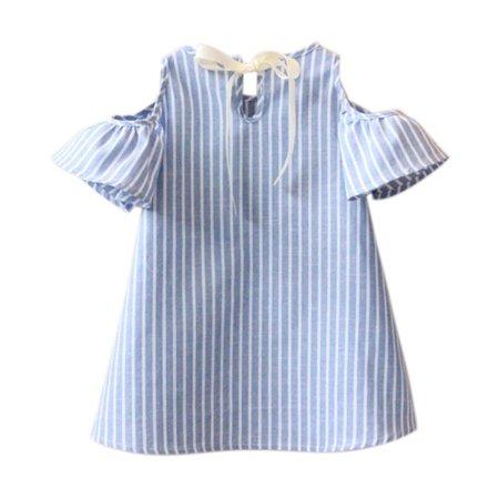 BOBORA Baby Kids Girl Princess Dress Summer Striped Loose Short Sleeve Mini Dresses