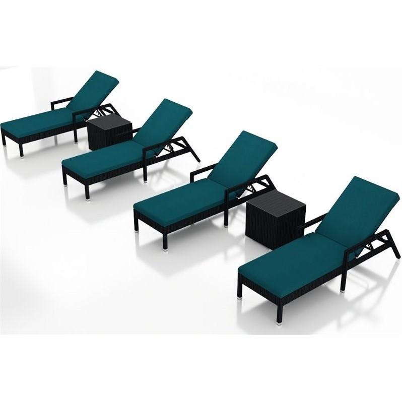 Harmonia Living Urbana 6 Piece Patio Chaise Lounge Set in Peacock