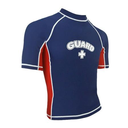 Short Sleeve Rash Guard (RISE Guard Short Sleeve Splice Rashguard - navy/red, large )
