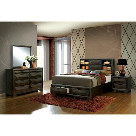 Furniture of America Stayven Contemporary Espresso Bookcase Headboard  4-piece Bedroom Set Queen