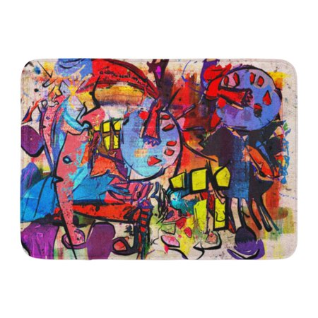 GODPOK Graffiti Color Abstract Painting Digital Collage Mixed Media Colorful Vibrant Messy Rug Doormat Bath Mat 23.6x15.7 inch