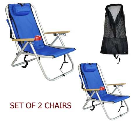 Deluxe Aluminum Rio Backpack Beach Chair / Camping Chair w Storage Pouch w Tall Mesh Drawstring Bag - Set of 2 Chairs