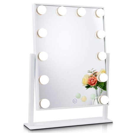 Best Vanity Mirror >> Chende Glossy White Lighted Vanity Mirror With Dimmable Led Bulbs Hollywood Style Makeup Mirror With Lights For Touch Control Design 3 Different