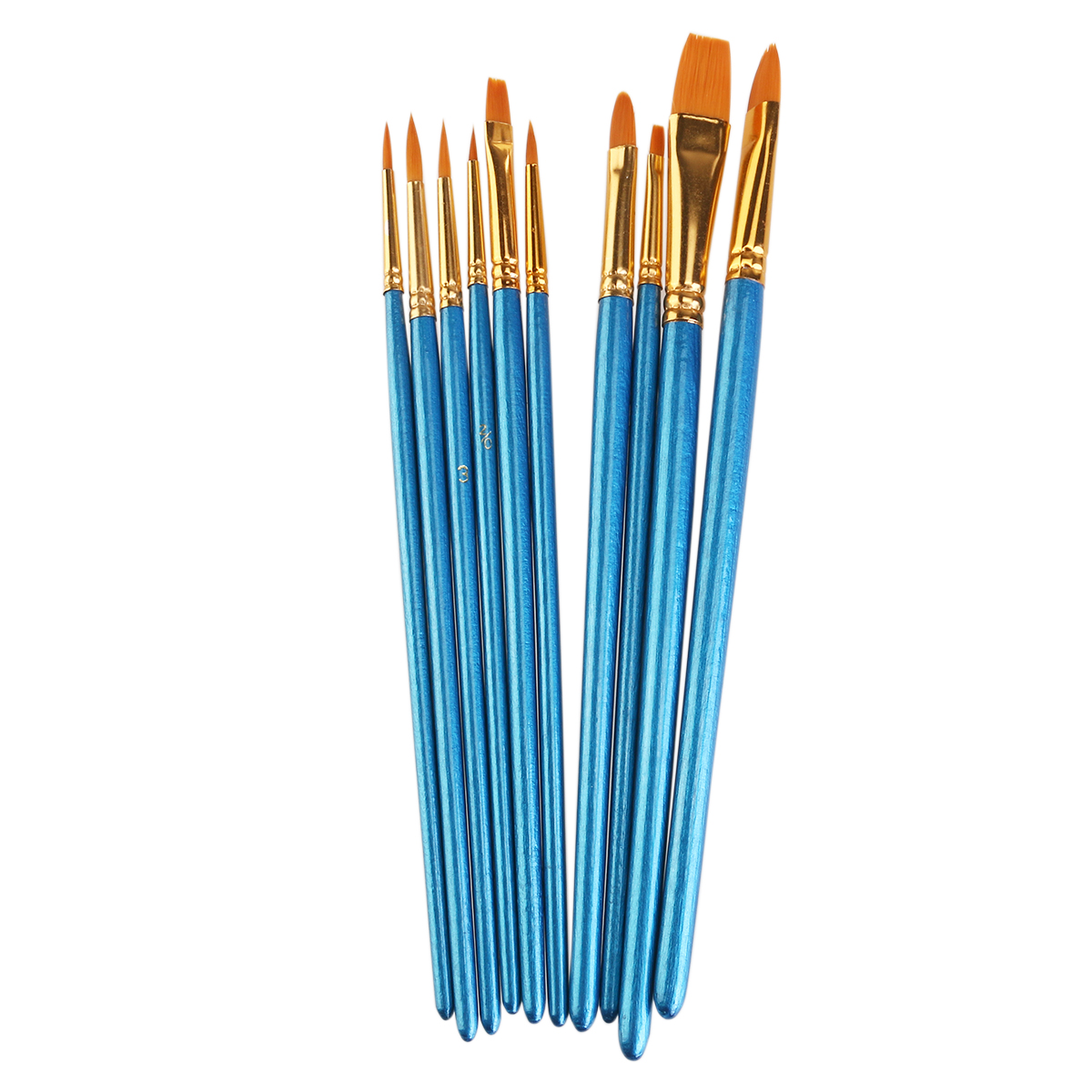 10pcs Nylon Paint Brushes Watercolor Painting Brush Set (Blue)