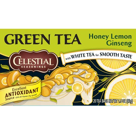 (2 Boxes) Celestial Seasonings Green Tea, Honey Lemon Ginseng, 20 Count ()