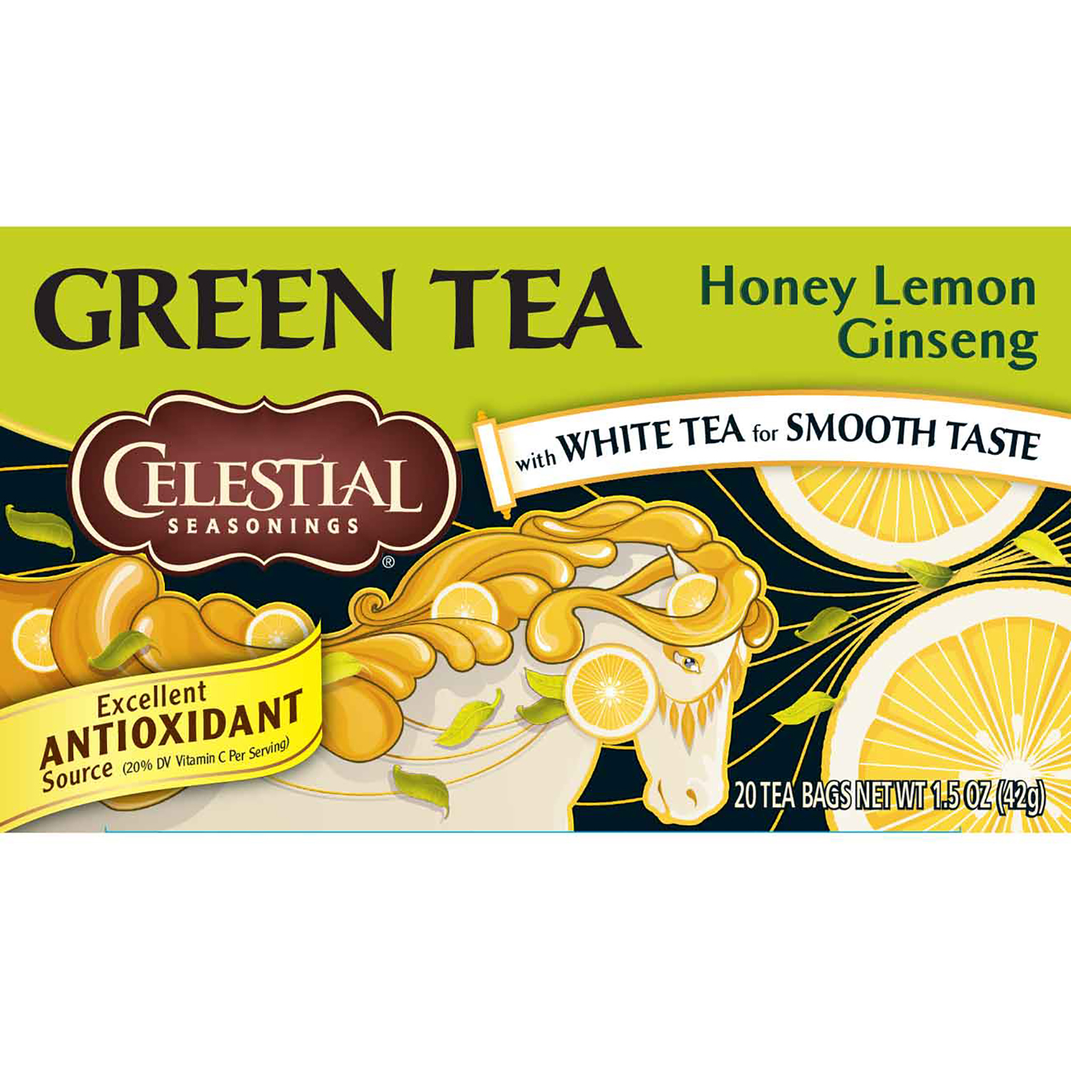 Celestial Seasonings, Green Tea, Honey Lemon Ginseng, Tea Bags, 20 Ct