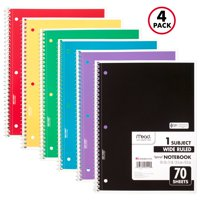 Mead Spiral Notebook, 1 Subject, Wide Ruled, 70 Sheets, 4 Pack (72873)