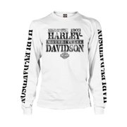 Harley-Davidson Men's Distressed Freedom Fighter Long Sleeve Shirt, White, Harley Davidson