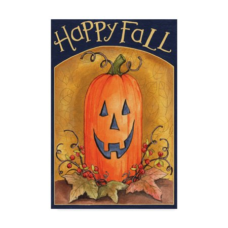 Trademark Fine Art 'Pumpkin Face Happy Fall' Canvas Art by Melinda Hipsher (Pumpkin Art)