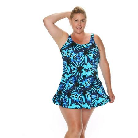 2dce0b4f4f THE - Leaf Royale Plus Size Swimdress - Walmart.com