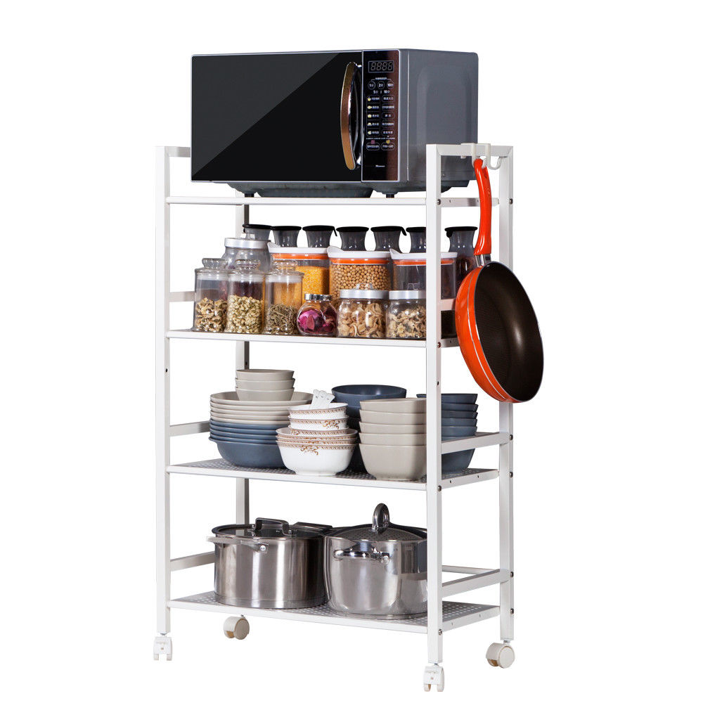 Zimtown 4-Tier Wire Mesh Rolling Cart Serving Utility Organization Kitchen Cart Ivory