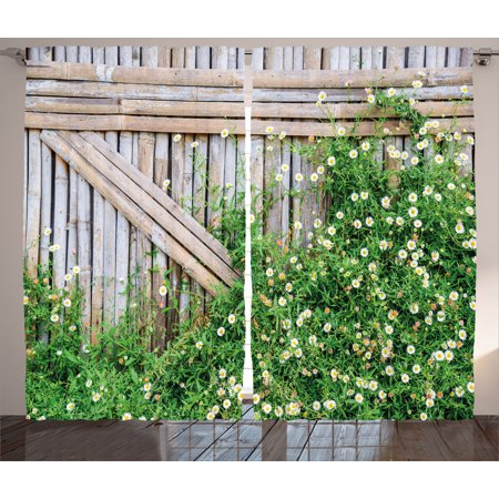 Farm House Decor Curtains 2 Panels Set, Bamboo Fence Covered by Ivy Daisy Flower Blooms Chamomile Petals Picture, Window Drapes for Living Room Bedroom, 108W X 84L Inches, Green Brown, -