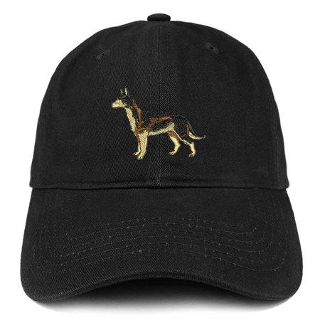 Trendy Apparel Shop German Sheperd Dog Embroidered Soft Cotton Dad Hat- Black (German Hat)