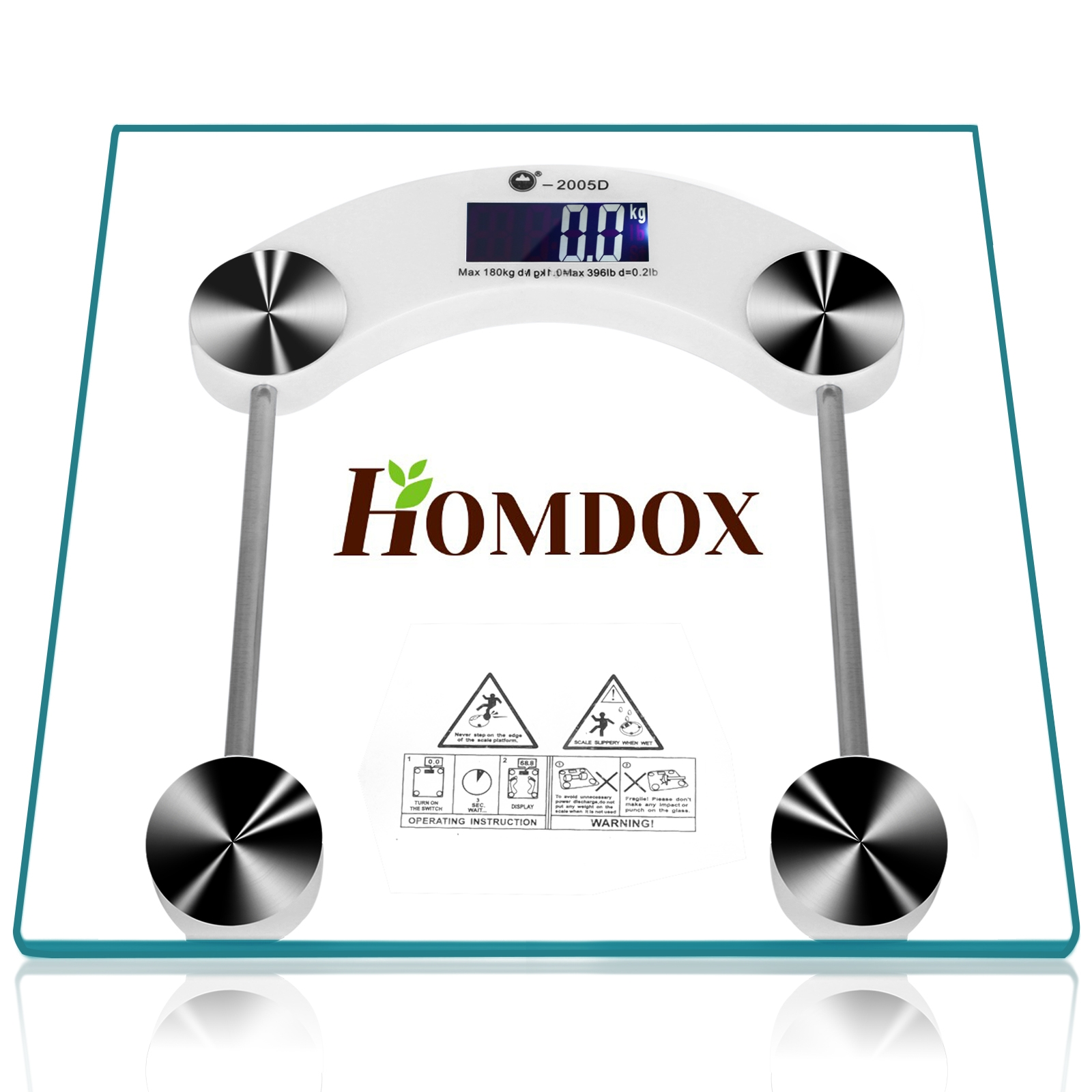 Homdox Thick Glass LCD Electronic Digital Bath Scale,Bathroom Scale