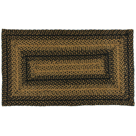ebony black and tan jute braided area rug. Black Bedroom Furniture Sets. Home Design Ideas