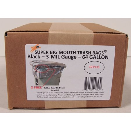 64 Gallon Trash Bags - Super Big Mouth Trash Bags® - 10 Count 10 Big Mouth