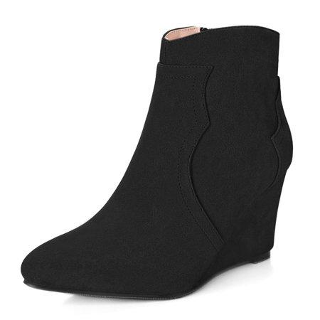 Women Pointed Toe Zipper Wedge Heel Ankle Booties (Camel Tie)