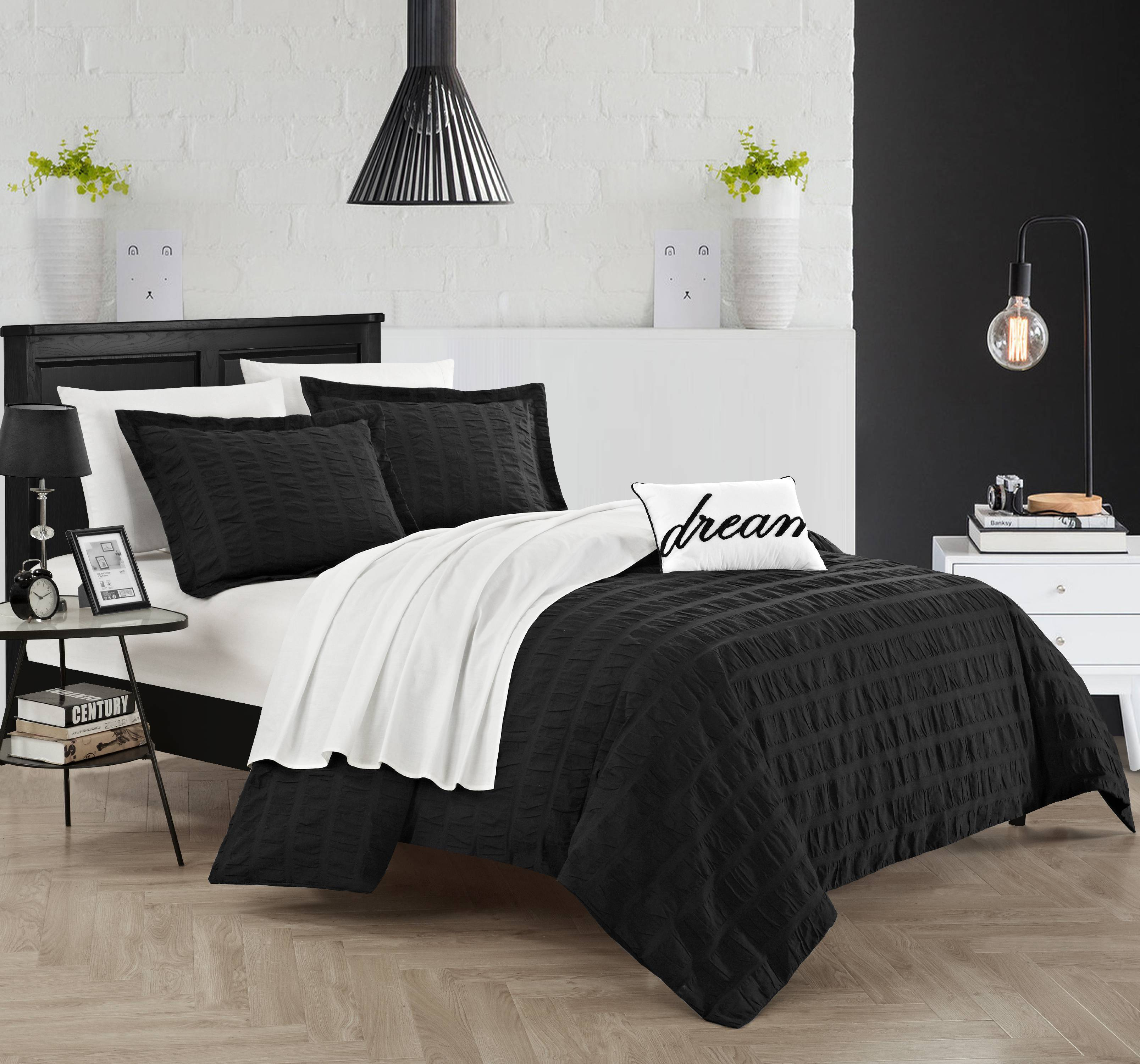 Chic Home Tornio 4 Piece Duvet Cover Set 100% Cotton Ruched Ruffled Striped Design Zipper Closure Bedding with Terry Embroidered Decorative Pillow and Shams Included