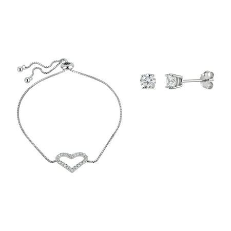 Sterling Silver Rhodium Plated White Cubic Zirconia Heart Bolo Bracelet And Stud Earrings -