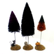 Department 56 Accessory FESTIVE HALLOWEEN SISALS Trees PumpkinSkullCat 6001756