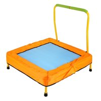 "JEFFENLY 33"" Kids Mini Trampoline with Handle, Safety and Durable Toddler Trampoline, Square Yellow"
