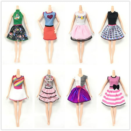 Style One Piece Dress - 8 pcs Doll's Fashionable Clothing Set Casual One-piece Dress for Doll Style Random