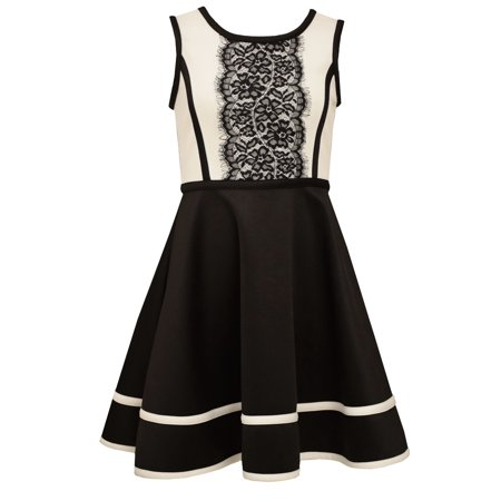 Bonnie Jean Big Girls' Lace Modern Special Occasion Black White Party Dress