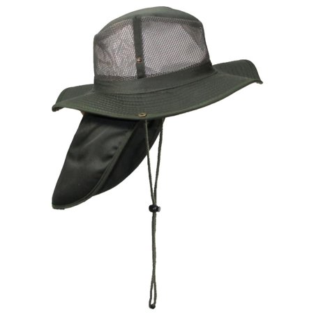 aef42127797 Tropic Hats Summer Cotton Wide Brim Mesh Safari W Neck Flap   Snap Up Sides  - Olive M - Walmart.com