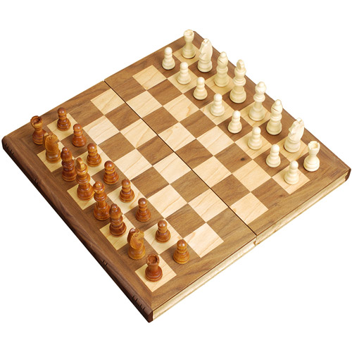 "Sterling Games 12"" Wooden Folding Chess Set"