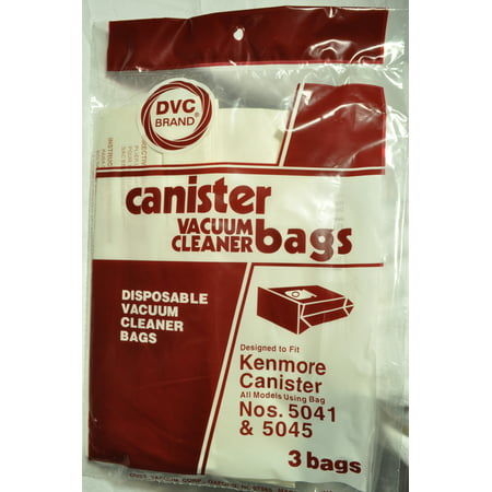 Kenmore Canister Vacuum Cleaner Bags, Number 5041 & 5045, DVC Replacement Brand, designed to fit Kenmore Canister Vacuum Cleaners using Bag Numbers 5041& 5045, 3 bags in pack - image 1 de 1