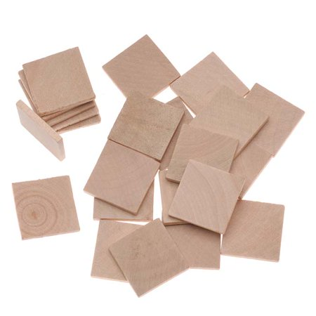 Wood Square Collage Jewelry Pendant Tiles 25mm (24 Tiles)