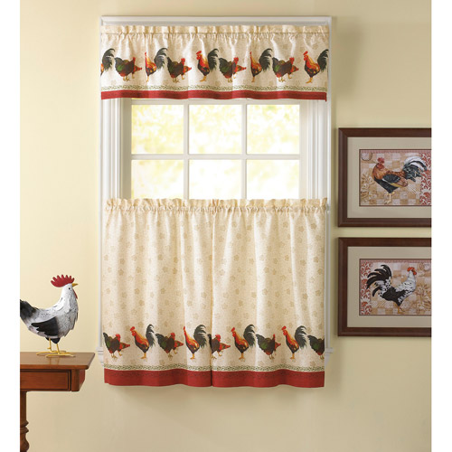 Chf & You Morning Rooster Kitchen Curtains, Set Of 2 - Walmart.Com
