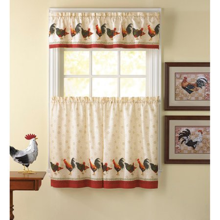 chf you morning rooster kitchen curtains set of 2. Black Bedroom Furniture Sets. Home Design Ideas
