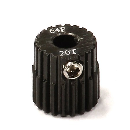 Integy RC Toy Model Hop-ups C24265 Billet Machined Hard Anodized Aluminum 64 Pitch Pinion 20 Teeth for 0.125 Shaft