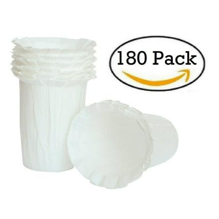 Disposable K Carafe Large Paper Coffee Filter Pod - Keurig Compatible for Multi Serve Brewing (180 Pack)