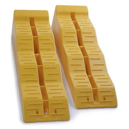 OxGord Leveler Ramp Chock Multi-Leveling Blocks (Pack of 2) for RV and Trailer Wheels (Links Levelers)