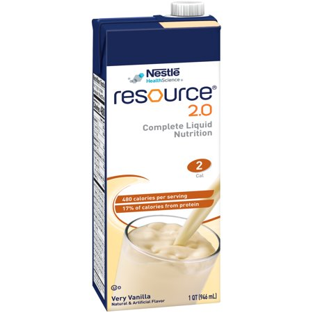 12 PACKS : Resource 2.0 Vanilla Complete Liquid Nutrition, 32 oz vanilla drinks.