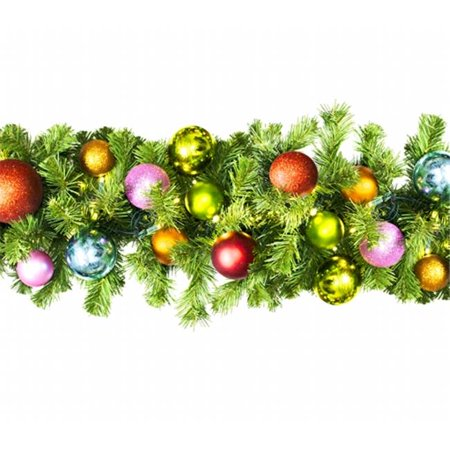 Winterland WL-GARSQ-09-TROP-LWW Led Sequoia Garland Decorated With The Tropical Ornament Collection (Sequoia Collection)