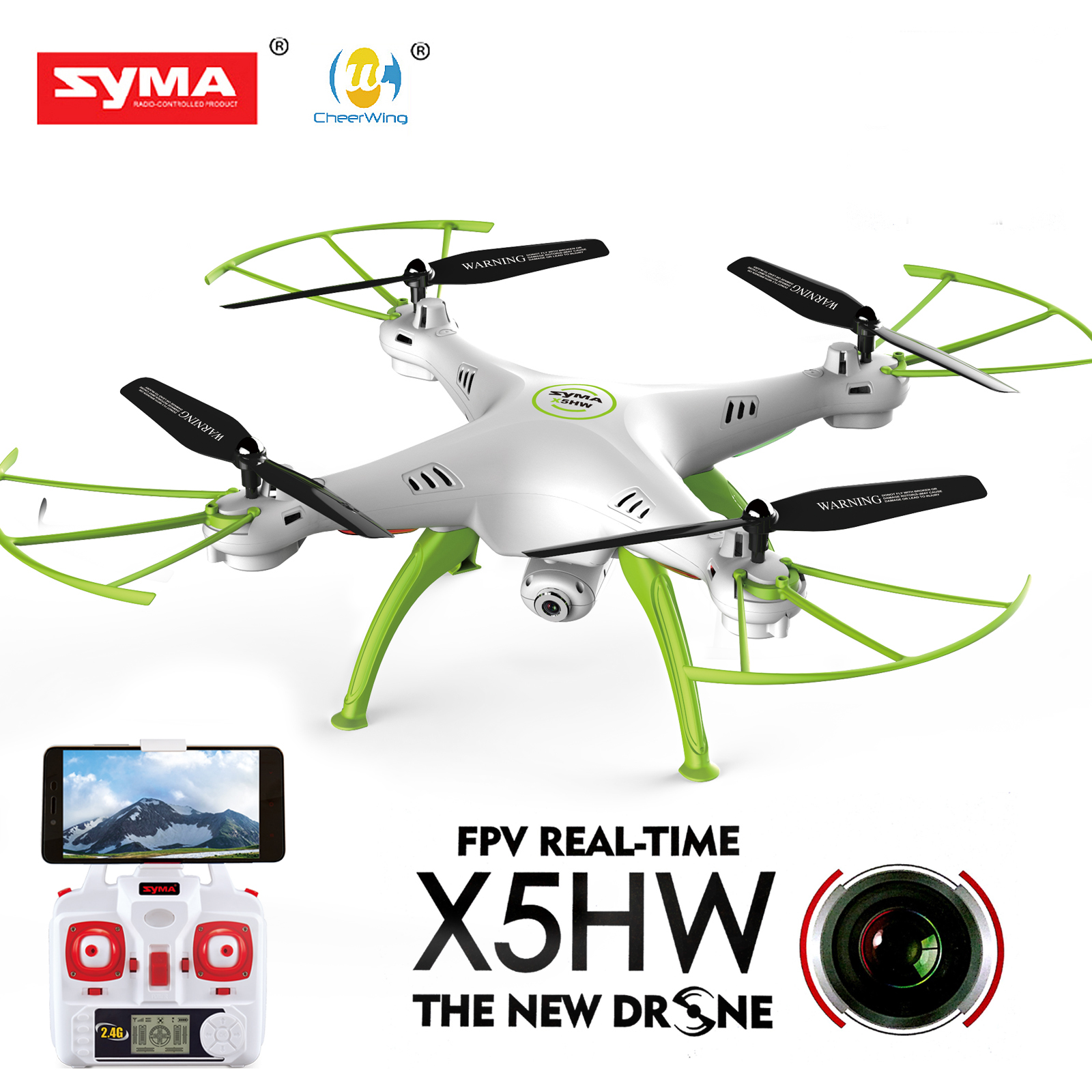 Cheerwing Syma X5HW-I FPV 2.4Ghz 4CH RC Headless Quadcopter Drone UFO with Hover Function HD Wifi Camera, White