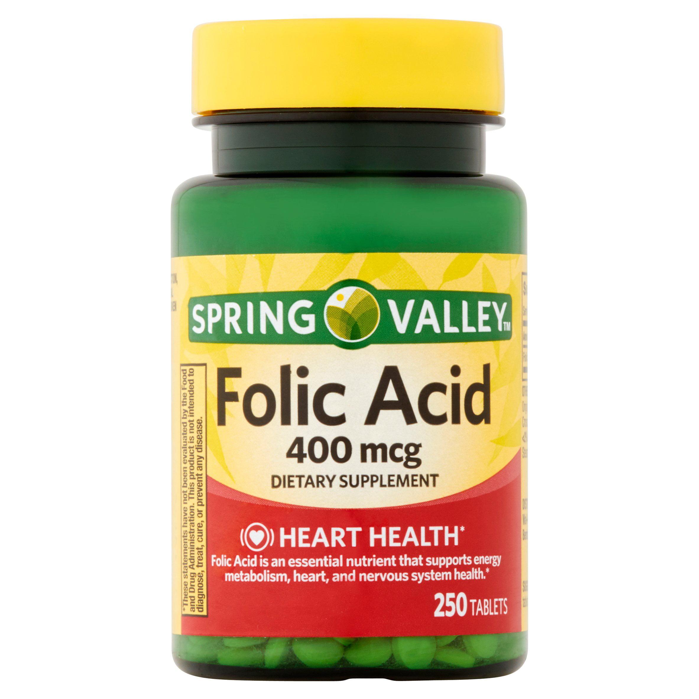 Spring Valley Folic Acid Tablets, 400 mcg, 250 Ct