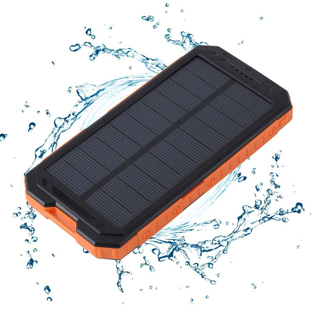 20000mAh Dual USB Waterproof Solar Battery Charger External Battery Pack Power bank For Mobile Phone Solar Power Bank ,orange by