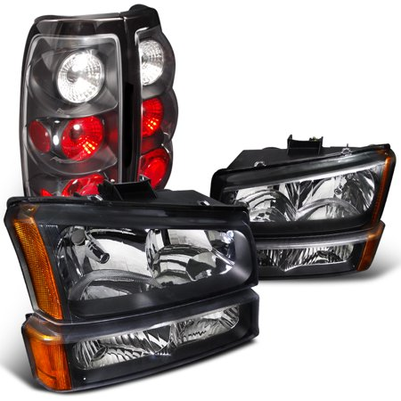 Spec-D Tuning For 2003-2007 Chevy Silverado Crystal Black Headlights + Bumper Lights Parking Lamps + Tail Lights (Left+Right) 2003 2004 2005 2006 (89 Tail Light Auto)