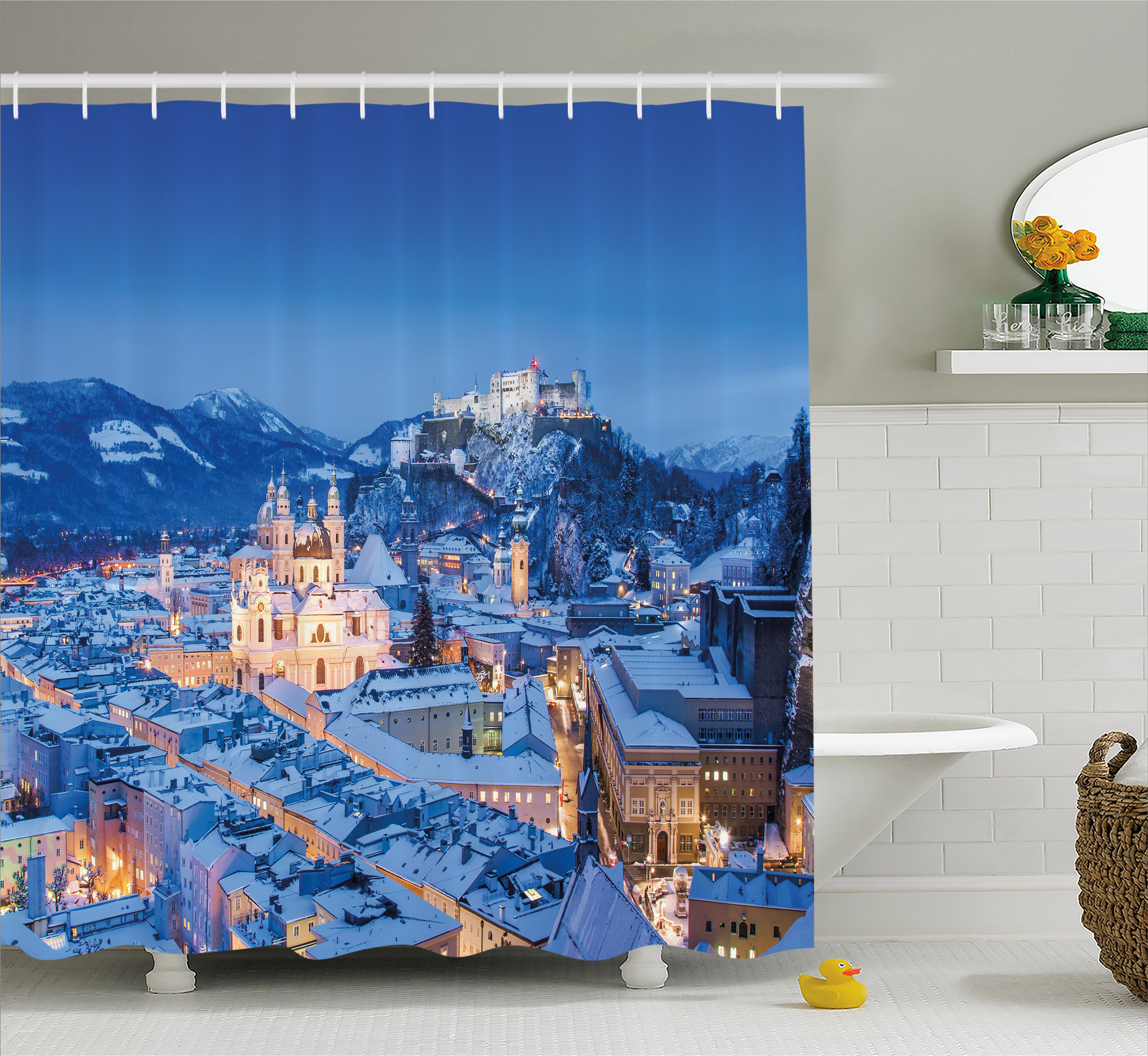 Winter Shower Curtain, View of the Historic City of Salzburg with Festung Hohensalzburg in Winter Austria, Fabric Bathroom Set with Hooks, 69W X 70L Inches, Blue Peach, by Ambesonne