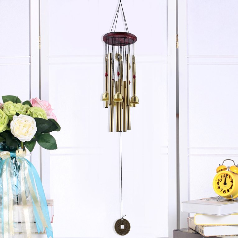 Large Resonant Wind Chimes Wood Top 10 Tubes Copper Coins Church Bells by LESHP