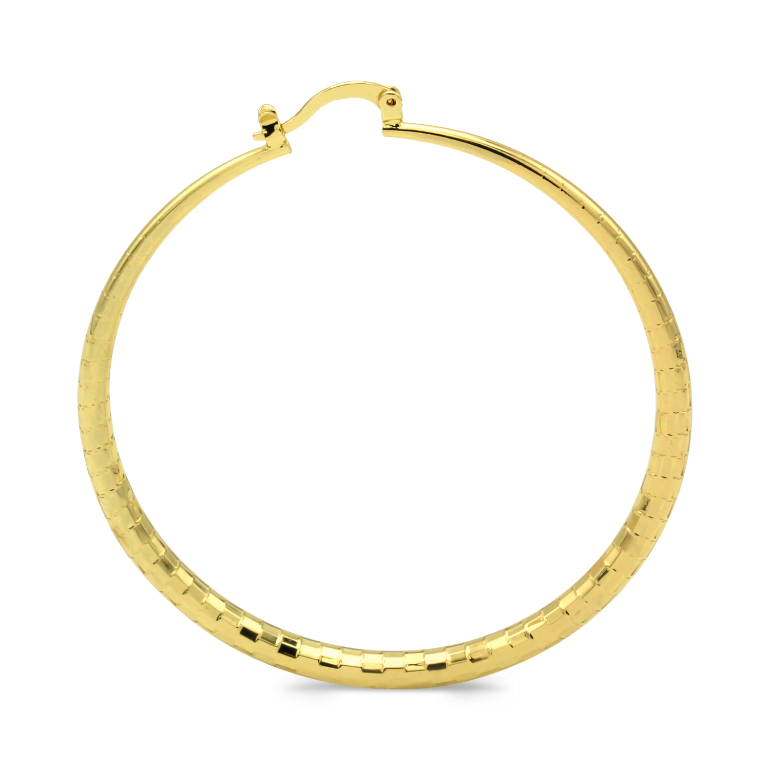 Hoop Earrings 14k Gold Plated Filled Fashion Stainless Steel Jewelry Circle Scale Designed Earring For Women 50mm - image 1 de 5