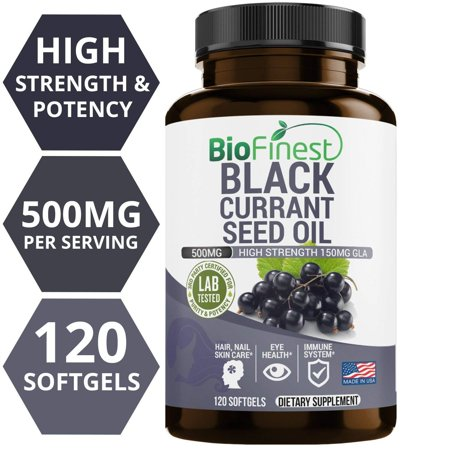 Biofinest Black Currant Seed Oil Supplement - 1000 Mg 100% Organic Cold-Pressed - Hexane Free - 150mg Gamma Linolenic Acid GLA - For Hormonal Balance, Eye Health, Immune System (120 liquid