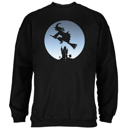 Halloween Witch Riding Broomstick Full Moon Mens Sweatshirt - Big Man Halloween Ideas