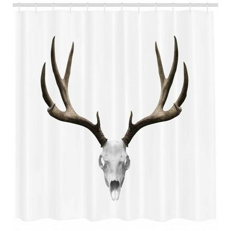 Hunter And Deer Costume Halloween (Antlers Shower Curtain, A Deer Skull Skeleton Head Bone Halloween Weathered Hunter Theme Motif, Fabric Bathroom Set with Hooks, Warm Taupe Pale Grey, by)